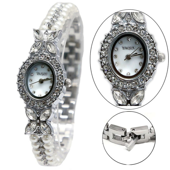 FW913B Shiny Silver Band White Dial Ladies Women Imitated Pearl  Bracelet Watch-WATCHES-Come4Buy eShop