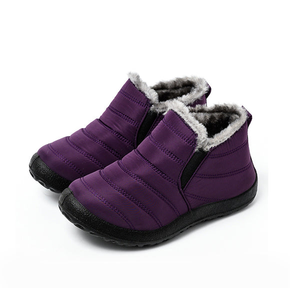 Snow Boots Women Shoes Warm Plush Fur Ankle Boots Winter Female Slip On Flat Casual Shoes Waterproof Ultralight Footwear