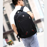 Litthing Large-capacity Student Schoolbag Casual Solid Color Material Oxford Man's Backpack Multi-functional  Simple Bag