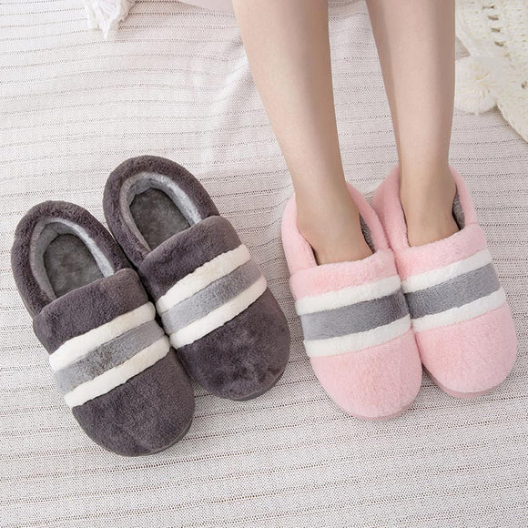 Women Slippers Furry Plush Soft Warm Winter New Ladies Slip On Comfort Striped Home Shoes Cover Heel Female Cute Bedroom