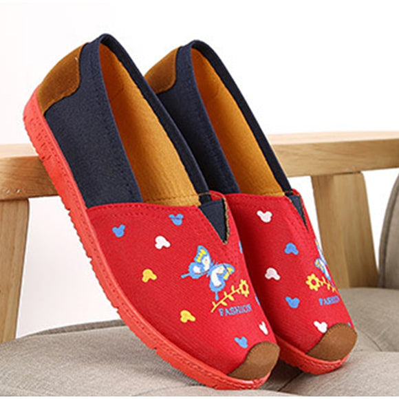 Women Autumn Shallow Flat Slip On Print Loafers Woman Casual Mixed Color Canvas Shoes Female Spring Sewing Soft Comfort Shoes