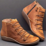Women's PU Leather Ankle Boots Women Autumn Winter Cross Strappy Vintage Women Punk Boots Flat