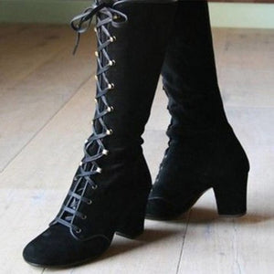 Women's Mid Calf Boots Shoes Woman Cross Lace Up Female Suede High Heels Ladies Thick Heels Retro Shoes Plus Size