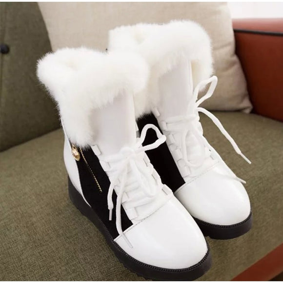 Women Winter Ankle Boots Lace Up Shoes Woman Zipper Mixed Color Women Height Increasing Boots Plush Female Warm Footwear