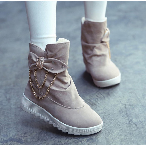 Winter Women Mid Calf Snow Boots Cotton Fabric Bowtie Chain Height Increasing Slip on Female Shoes Fashion Ladies