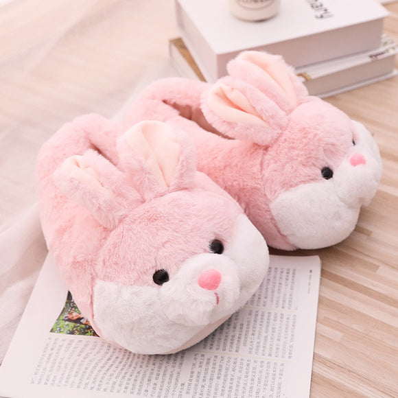 Women Winter Slippers Cute Pink Bunny Cartoon Design Warm Home Plush Head Silent Indoor Floor Adult Girl Lady House Shoes