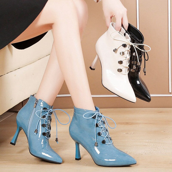 Women Autumn Lace Up Zipper Ankle Boots Ladies High Quality PU Leather  Pointed Toe Pumps Square Heels Female Shoes