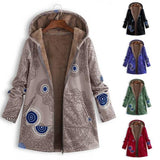 Winter Woman Coat Womens Winter Warm Outwear Retro Geometry Print Hooded Pockets Vintage Oversize Coats Feminine Coat-Women Jacket-Come4Buy eShop
