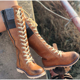 Women's British Boots Warm Mid-calf Boots Winter Shoes Woman Zip Waterproof Lace Up Women Sewing  Ladies Retro Footwear