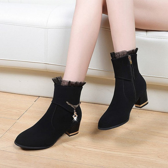 Women's Crystal Zipper Ankle Boots Autumn Female Solid Sewing Square High Heels Woman Flock Comfort Shoes Ladies Fashion