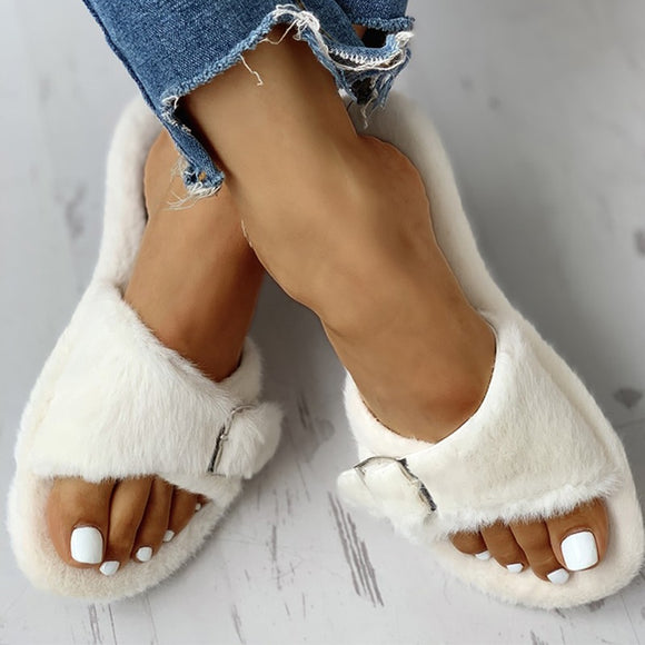 Woman Buckle Flat Female Fur Outdoor Elegant Slippers Ladies Comfort Soft Bottom Outside Women's Casual Women Shoes
