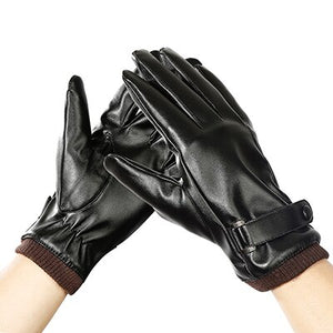 Mens Unisex Leather Gloves Touch Screen Thinsulate Lined Driving Warm Cycling Gloves Winter Keep Warm Mittens Male-Glove-Come4Buy eShop