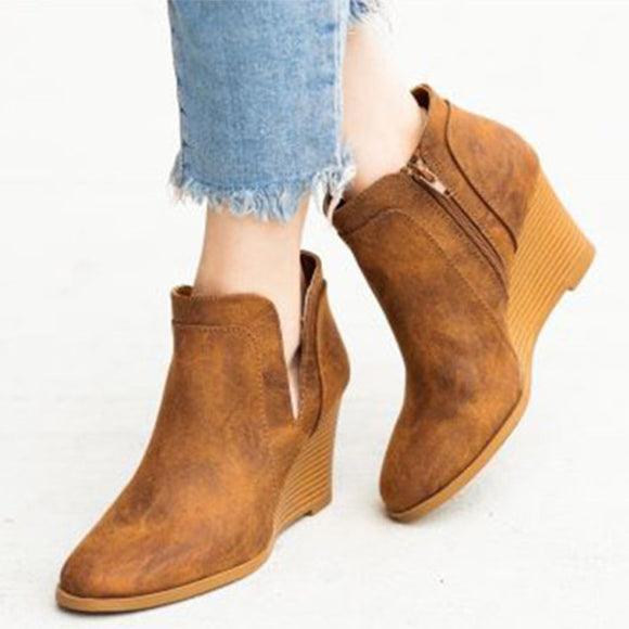 Women Autumn Ankle Boots Wedges Shoes Woman Slip On PU Leather Female Casual Short Boots Women's Vintage Solid Footwear