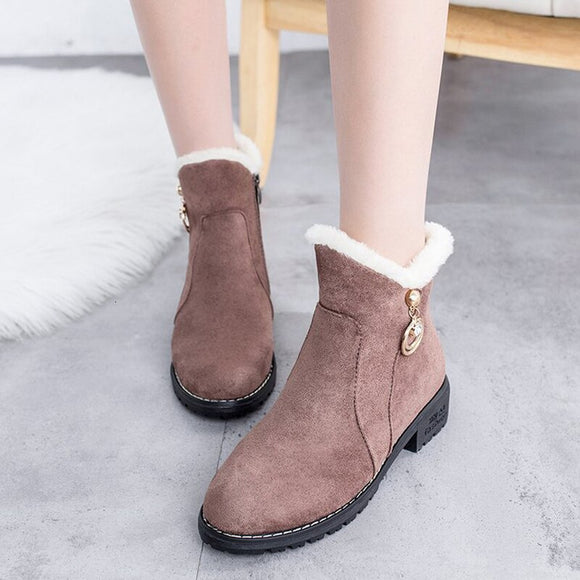 Women Snow boots warm plush women winter boots square heels ankle boots women shoes zipper women winter shoes Botas Mujer