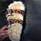 Women's Leopard Furry Plush Slippers Autumn Women Sexy Buckle Strap Flat Woman Casual Comfortable Female Shoes Ladies Platform
