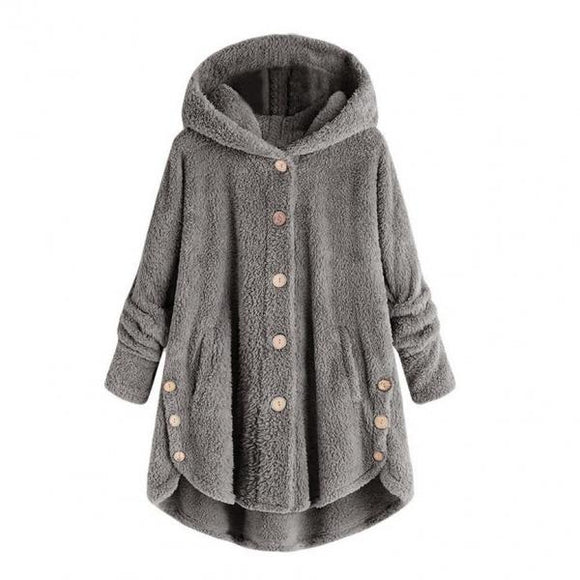 Female Jacket Plush Coat Fashion Warm Women Button Coat Fluffy Tail Tops Women's Hooded Jackets Pullover Loose Sweater Size Plus-Women Jacket-Come4Buy eShop
