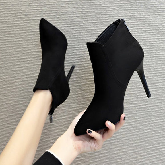 Women Autumn Flock Pointed To Zipper Thin High Heels Elegant Woman Ankle Boots Female e Sexy Boots Ladies Casual Shoes