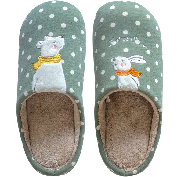 Winter Indoor Warm Women Slippers Cute Bear bunny fox Animal Fur Home Shoe Female Girl Nonslip Memory Foam Cotton House shoes