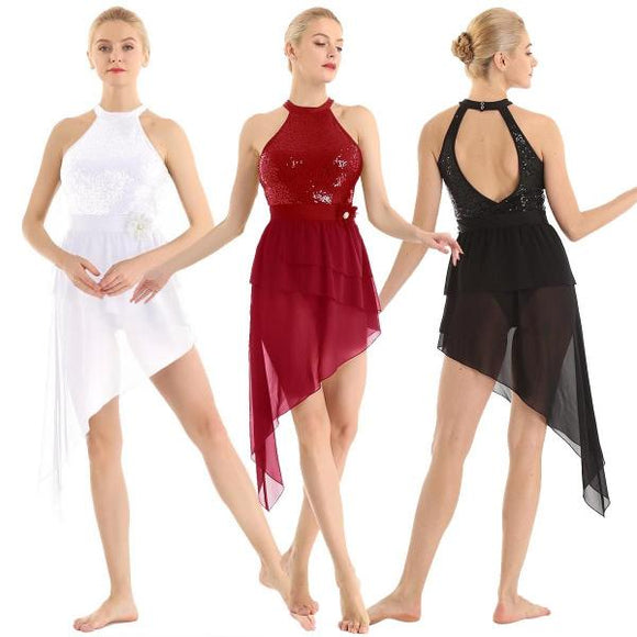 Halter Chiffon Gymnastics Ballet Leotard Dress