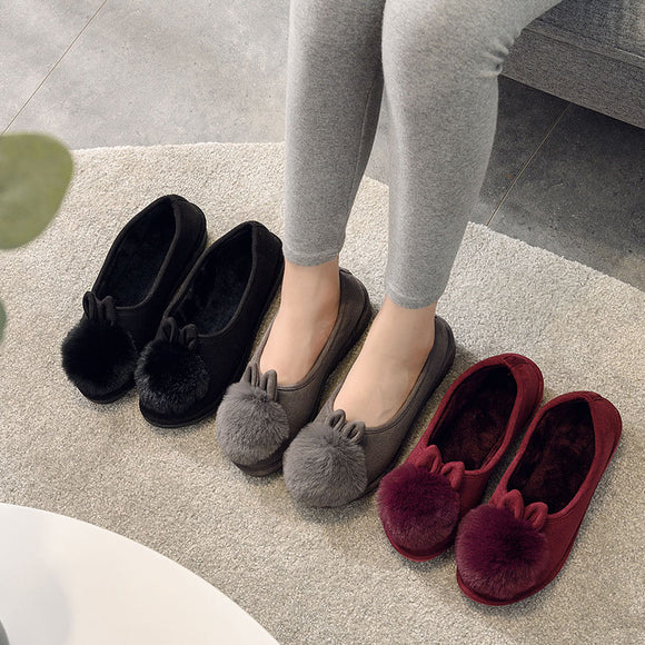 Women Winter Flock Short Plush Warm Flat Shoes Woman Doug Shoes Cute Rabbit Slip On  Ladies Non Slip Female Shoes New