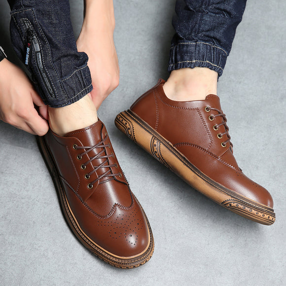 Winter Men Casual Leather Shoes Furry Punch Toe Cap Brogue Men Shoe Flats Warm Daily Driving Shoes-Men Shoes-Come4Buy eShop