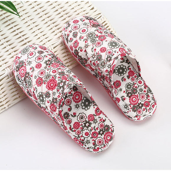 Women Winter Flat Print Cloth Slippers Woman Warm Indoor Shoes Female Grid Indoor Floor Slippers Ladies Fashion Footwear