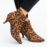 NEW Women's Ankle Boots Leopard Women Pointed Toe Ladies Thin High Heels Female Shoes Woman Snake Footwear Plus Size 35-43