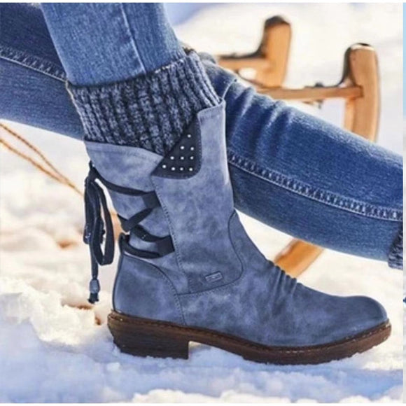 Women's Mid Calf Boots Winter Woman Warm Zip Snow Boots Female PU Leather Solid Sewing Platform Shoes Women Causal Boots