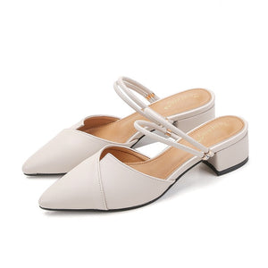 Women Pointed Toe Block Strap Closed Shallow Black Beige Korean Pumps-[product_type]-Come4Buy eShop