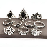 10 Pcs/set Black Gem OM Yoga Fatima Adjustable Silver Ring Bohemian Retro Elephant Crown Flower  Vintage Jewelry Accessories-Rings-Come4Buy eShop
