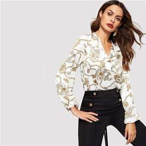 Office Lady White Cut-out V Neck Chain Print Top C4B Elegant Workwear Long Sleeve Blouse Women Autumn Top Blouses-Women Clothing-Come4Buy eShop