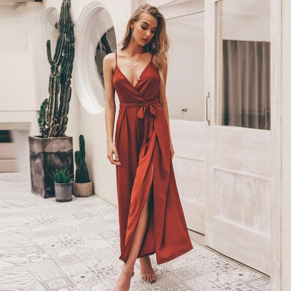 Sexy floral print jumpsuits women V neck split spaghetti strap long overalls  Summer beach loose female  jumpsuit 2019-Women Clothing-Come4Buy eShop