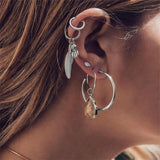 5 Pcs/Set Pendant Silver Earrings Set Women Personality Leaf Palm Eyes Gem Geometry  Exquisite Party Jewelry Accessories Gift-EARRINGS-Come4Buy eShop