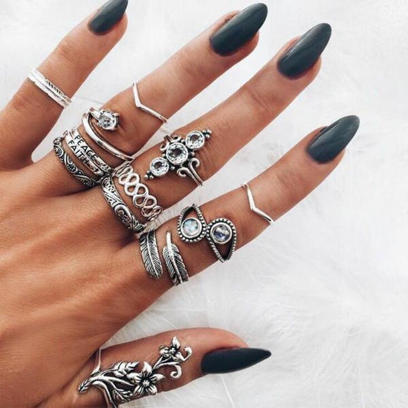 13 Pcs/set Open Ring Set Ladies Charm Fashion Crystal Silver Flower Geometric Leaf  Party Jewelry Accessories Mother's Day Gift-Rings-Come4Buy eShop