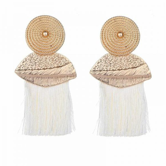 Vintage Long Tassel Earrings for Women Drop Dangle Pendientes Fashion Statement Big Round Earring Female-EARRINGS-Come4Buy eShop