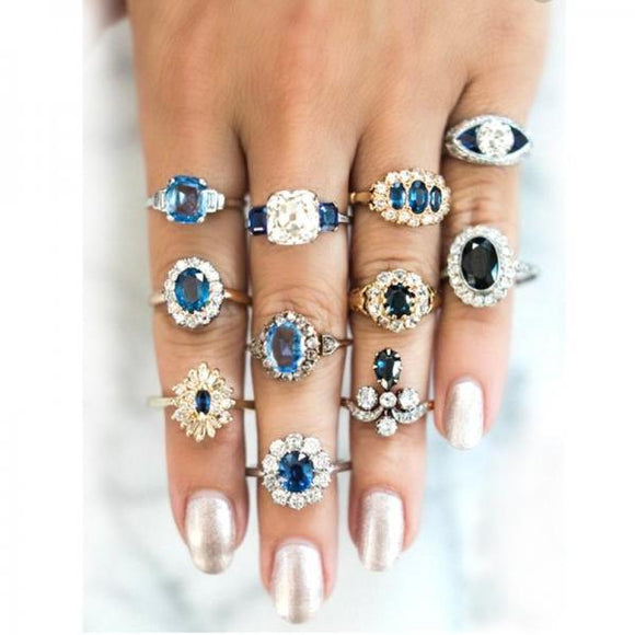 11 Pcs/set Blue Crystal Geometry Round Water Drops Irregular Flower Ring Set Delicate Luxury Women Charm Party Wedding Jewelry-[product_type]-Come4Buy eShop
