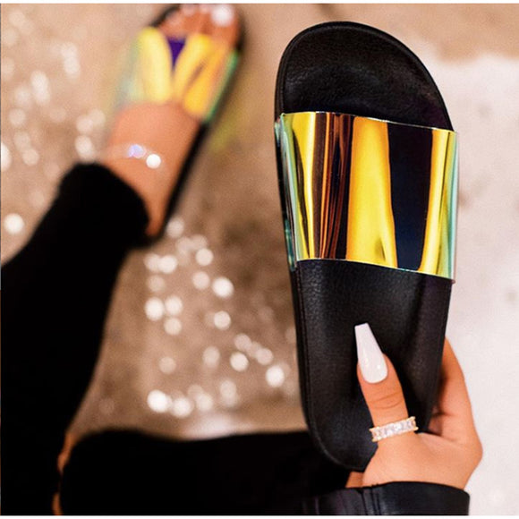 Summer Woman Flat Slippers Candy Color Jelly Shoe Woman Transparent Slides Female Open Toe Flip Flops Women's Beach Shoes