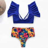 Vintage print two pieces women bra sets Deep v ruffles high waist bathing suit swimwear Push up sexy elegant bodysuit-Women Clothing-Come4Buy eShop