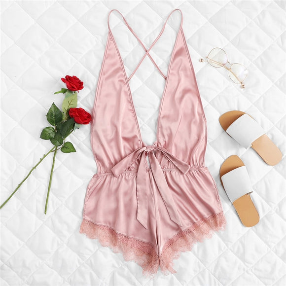 Open Back Eyelash Contrast Lace Trim Hem Teddy Romper Bodysuit Sexy Criss Cross Teddies Satin Women Onesies Sleepwear-Sleeveless-Come4Buy eShop