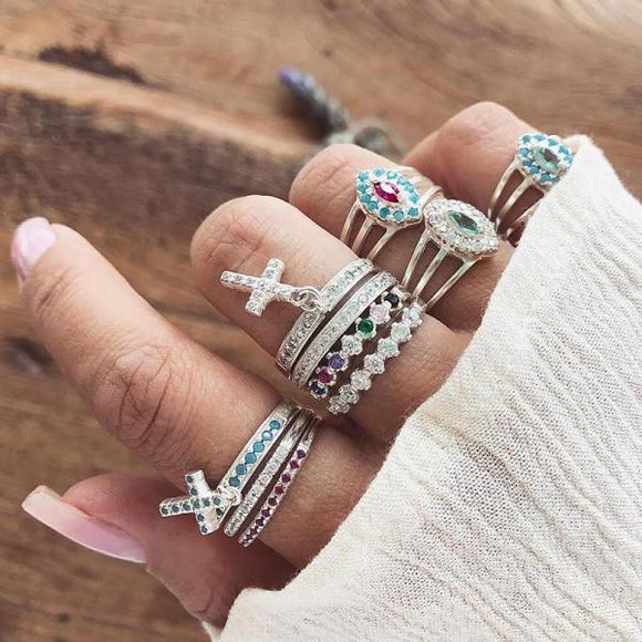10 Pcs/set  Crystal Cross Pendant Geometry Ring Set Women Boho Retro Colorful Lady Luxury Jewelry Engraved Silver Wedding Ring-Rings-Come4Buy eShop