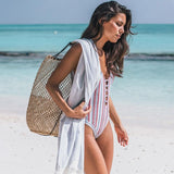 Sexy One Piece Swimsuit Women Vintage Striped Swimwear V Neck Bathing Suits Beachwear Straps-Women Clothing-Come4Buy eShop