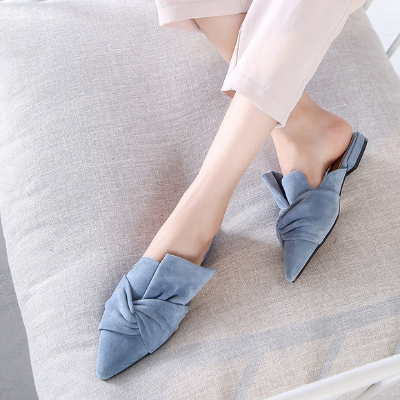 Women Slippers Flock Bowtie Female Mules Fashion Low Heels Shoes Pointed Toe Ladies Plus Size Elegant Woman Slipper