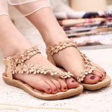 Women Bohemia Style Flat Sandals Pinch Clip Toe Summer Casual Ladies Shoes Beach Flowers Flip Flops Female Zapatos De Mujer 669W