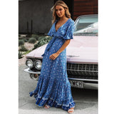 Bohemian print summer dress women Short sleeve ruffled long maxi dress Elegant v-neck drawstring ladies cotton dresses-Women Clothing-Come4Buy eShop
