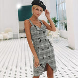 Plaid Strap women dress office lady High waist split sash short dress Double breasted casual autumn winter dress-Women Clothing-Come4Buy eShop