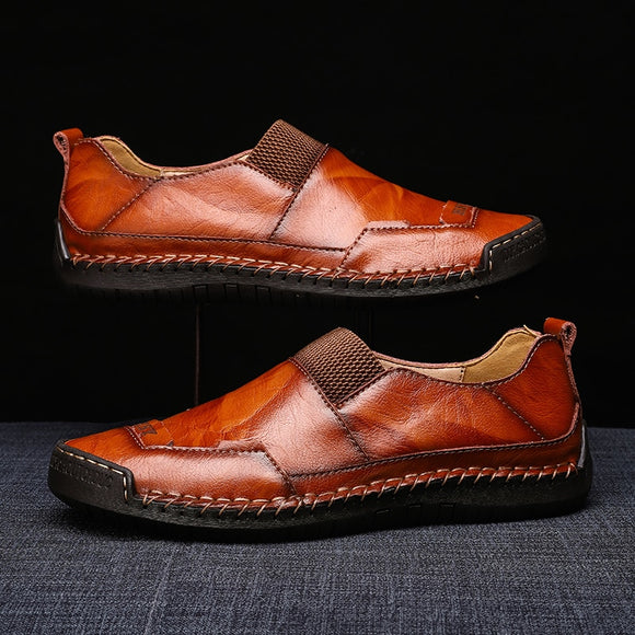 Elastic Band Men Flats Men Loafers Casual Split Leather Soft Comfortable Driving Shoes-Men Shoes-Come4Buy eShop