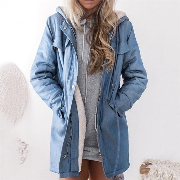 Women's Hooded Jackets Female Jacket Plush Coat Casual Long Sleeve Denim Jacket Long Jean Outwear Overcoat Feminine Coat-Women Jacket-Come4Buy eShop
