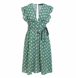 Sexy V neck polka dot green summer dress women 2019 Casual ruffle midi dress Elegant holiday beach female vestidos festa-Women Clothing-Come4Buy eShop