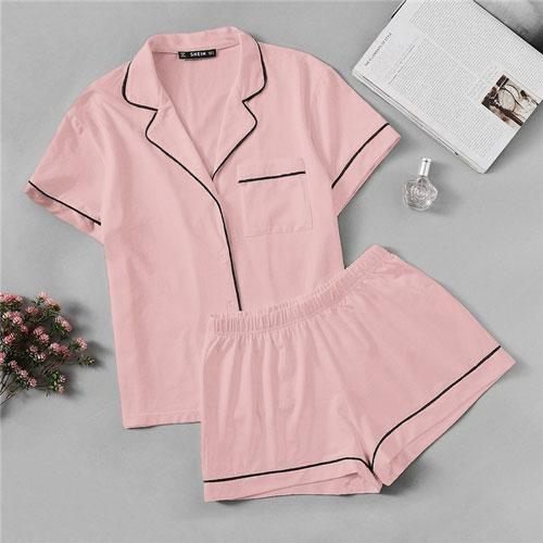 C4B Pink Contrast Piping Pocket Front Shirt Pajama Set Short Sleeve Lapel Top With Elastic Waist Shorts Womens Two Piece Sets-Women Clothing-Come4Buy eShop