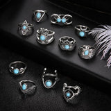 11 Pcs/set Moon Crown Gem Silver Joint Ring Set Women Punk Hollow Eagle Fatima  Party Birthday Fashion Jewelry Gifts-Rings-Come4Buy eShop